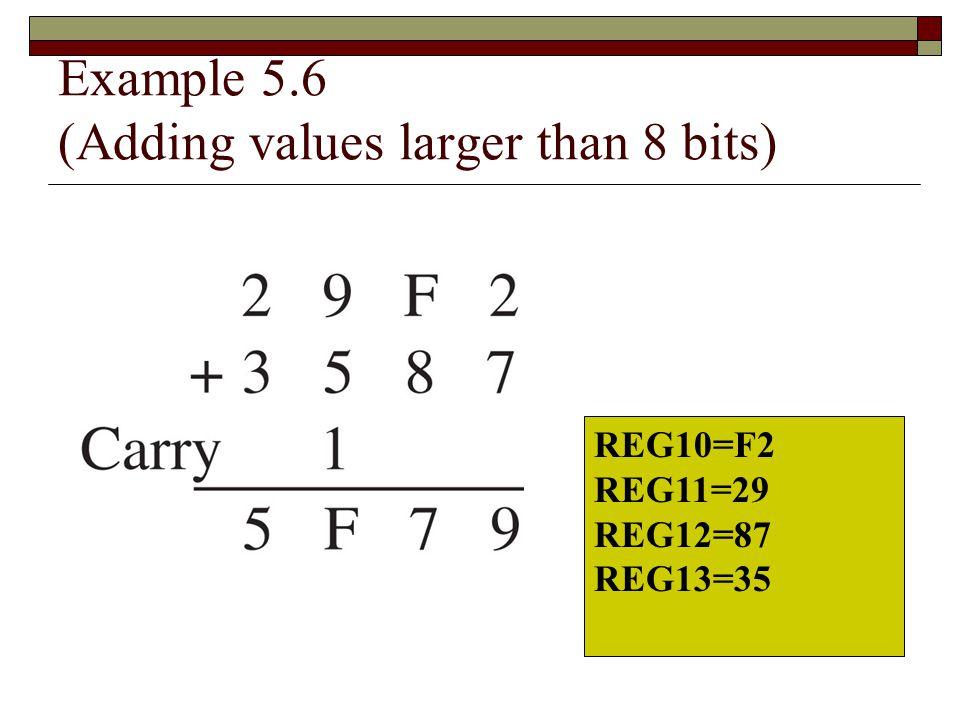 Example 5.6 (Adding values larger than 8 bits) REG10=F2 REG11=29 REG12=87 REG13=35