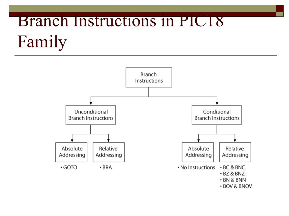 Branch Instructions in PIC18 Family