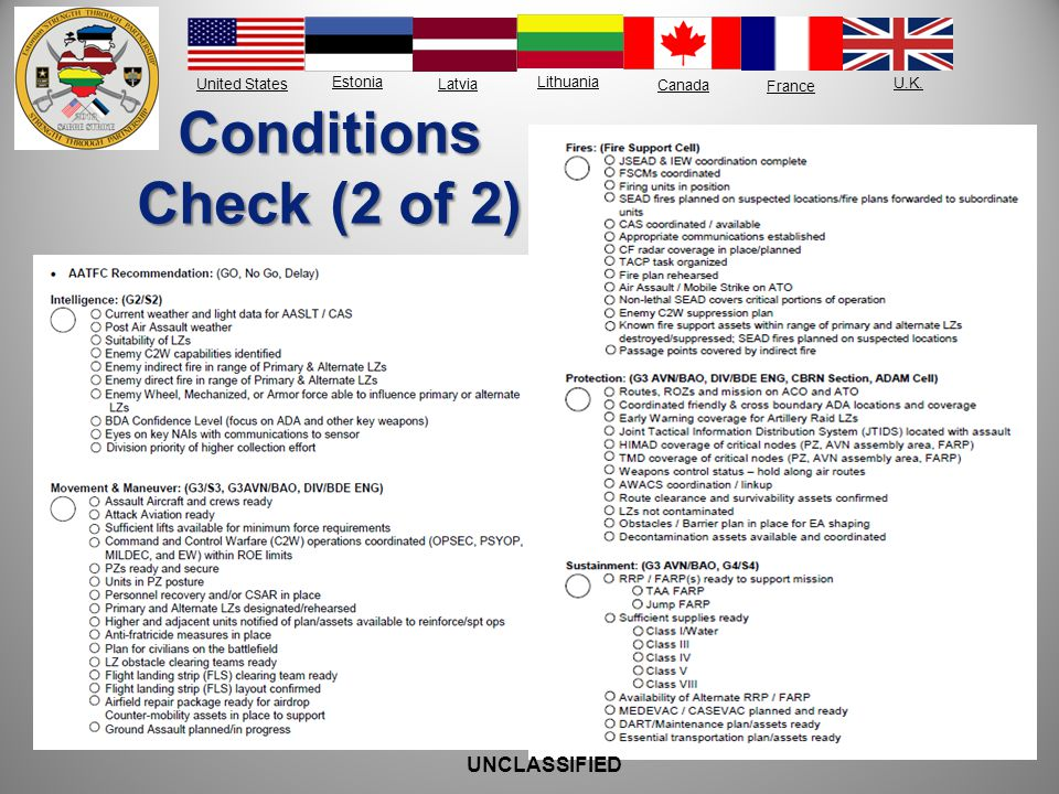 United States Estonia Latvia Lithuania France Canada U.K. Conditions Check (2 of 2) UNCLASSIFIED