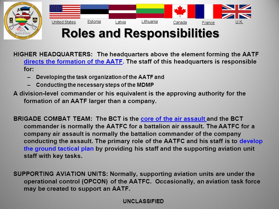 United States Estonia Latvia Lithuania France Canada U.K. Roles and Responsibilities HIGHER HEADQUARTERS: The headquarters above the element forming t