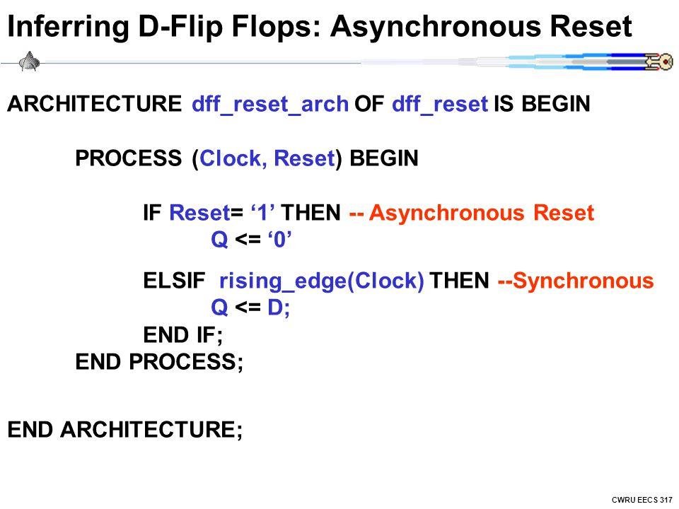 CWRU EECS 317 Inferring D-Flip Flops: Asynchronous Reset ARCHITECTURE dff_reset_arch OF dff_reset IS BEGIN PROCESS (Clock, Reset) BEGIN IF Reset= '1' THEN -- Asynchronous Reset Q <= '0' ELSIF rising_edge(Clock) THEN --Synchronous Q <= D; END IF; END PROCESS; END ARCHITECTURE;