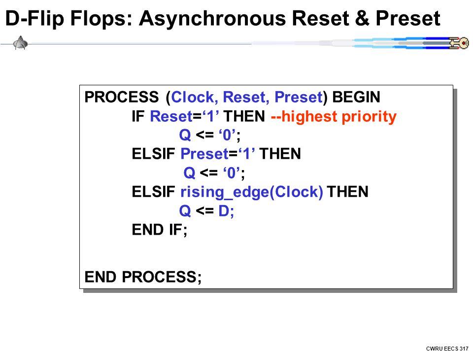 CWRU EECS 317 D-Flip Flops: Asynchronous Reset & Preset PROCESS (Clock, Reset, Preset) BEGIN IF Reset='1' THEN --highest priority Q <= '0'; ELSIF Preset='1' THEN Q <= '0'; ELSIF rising_edge(Clock) THEN Q <= D; END IF; END PROCESS; PROCESS (Clock, Reset, Preset) BEGIN IF Reset='1' THEN --highest priority Q <= '0'; ELSIF Preset='1' THEN Q <= '0'; ELSIF rising_edge(Clock) THEN Q <= D; END IF; END PROCESS;