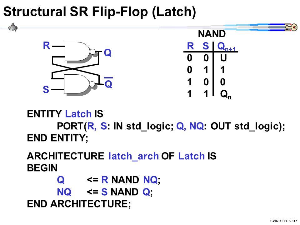 CWRU EECS 317 Structural SR Flip-Flop (Latch) NAND R S Q n+1 0 0 U 0 1 1 1 0 0 1 1 Q n R S Q Q ENTITY Latch IS PORT(R, S: IN std_logic; Q, NQ: OUT std_logic); END ENTITY; ARCHITECTURE latch_arch OF Latch IS BEGIN Q<= R NAND NQ; NQ<= S NAND Q; END ARCHITECTURE;
