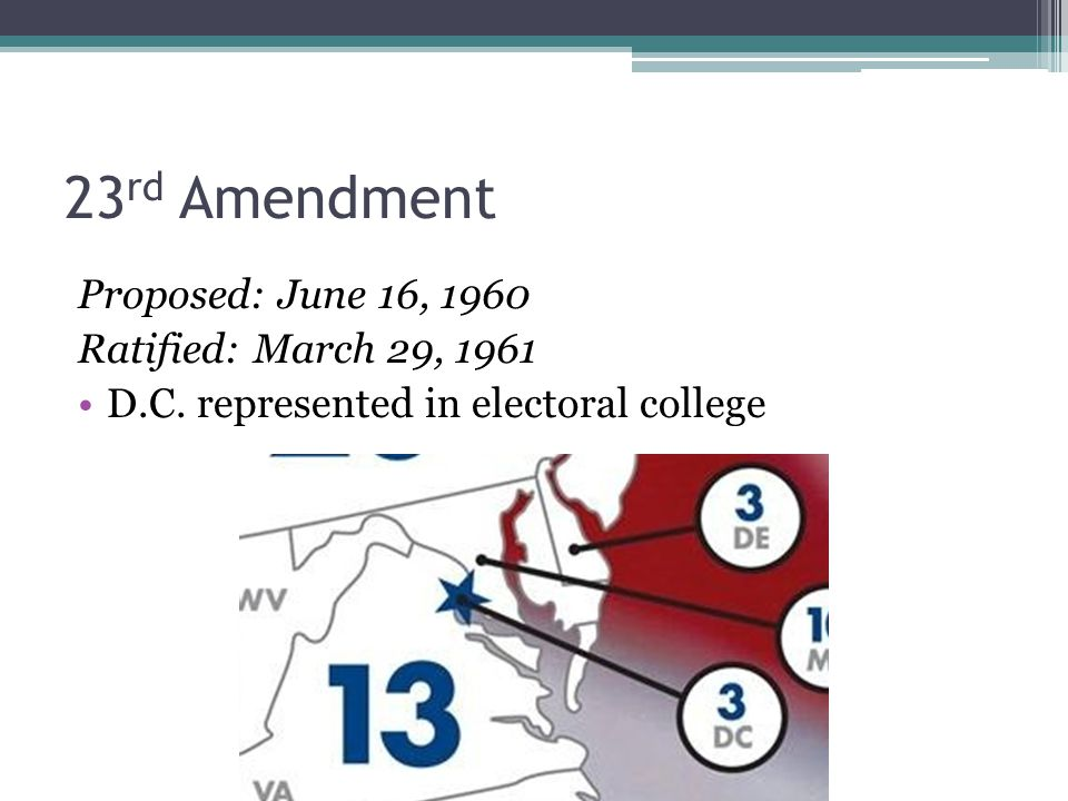 23 rd Amendment Proposed: June 16, 1960 Ratified: March 29, 1961 D.C.