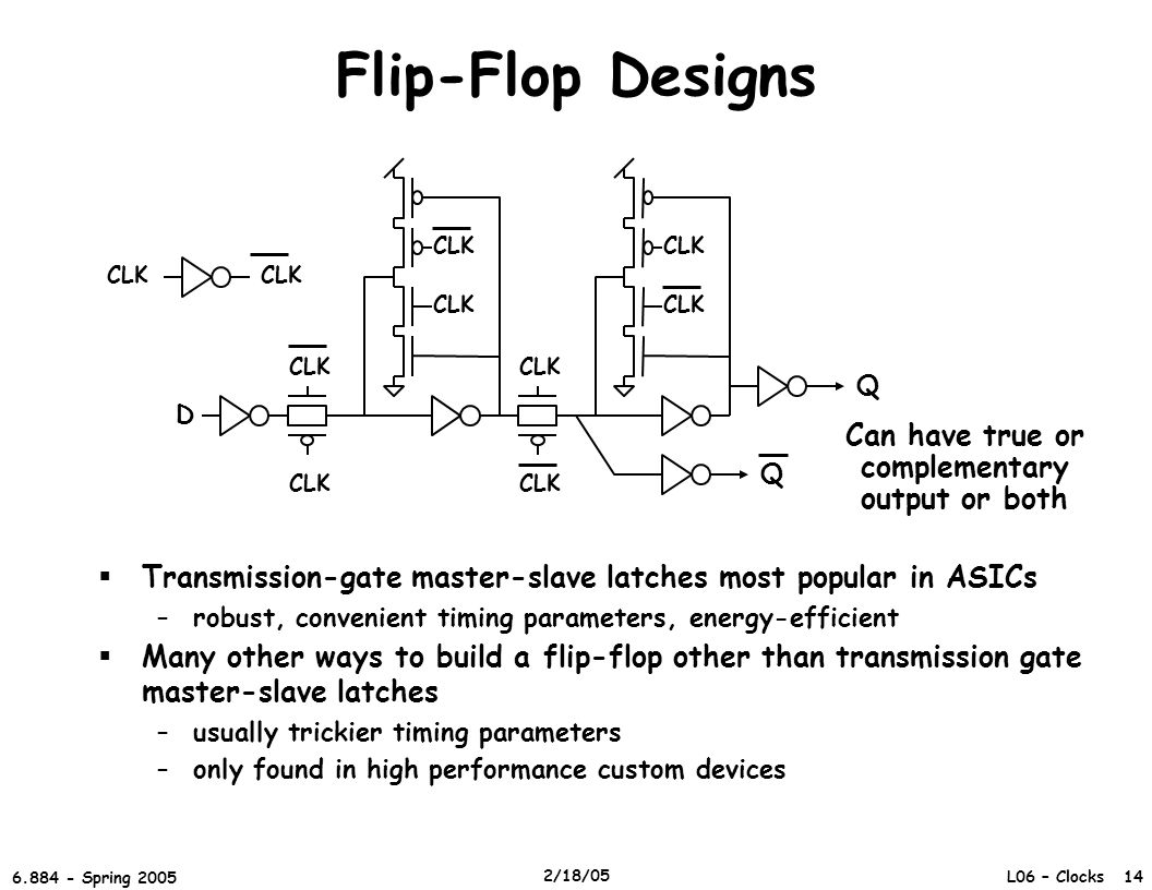 L06 – Clocks 14 6.884 - Spring 2005 2/18/05 Flip-Flop Designs  Transmission-gate master-slave latches most popular in ASICs –robust, convenient timing parameters, energy-efficient  Many other ways to build a flip-flop other than transmission gate master-slave latches –usually trickier timing parameters –only found in high performance custom devices D CLK Q Q Can have true or complementary output or both