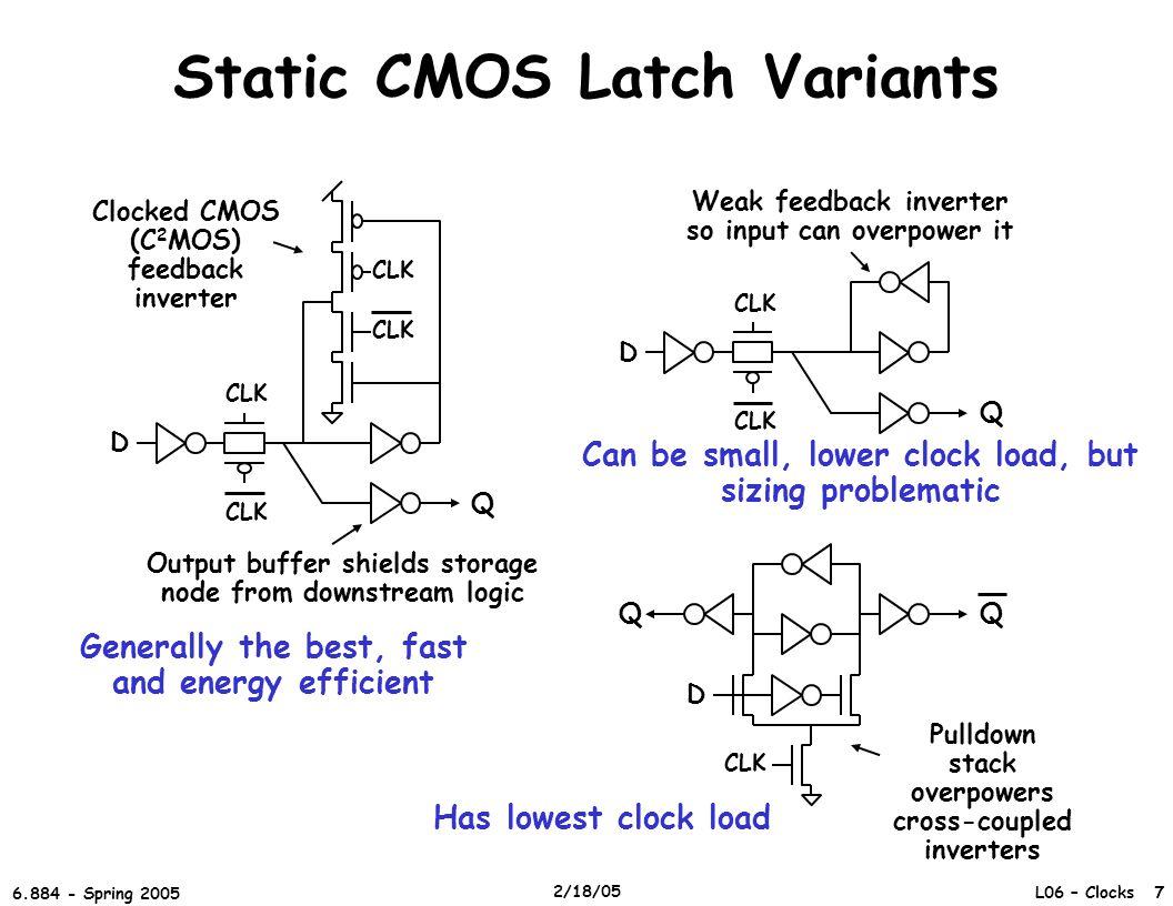 L06 – Clocks 7 6.884 - Spring 2005 2/18/05 Static CMOS Latch Variants D CLK Q Clocked CMOS (C 2 MOS) feedback inverter Output buffer shields storage n