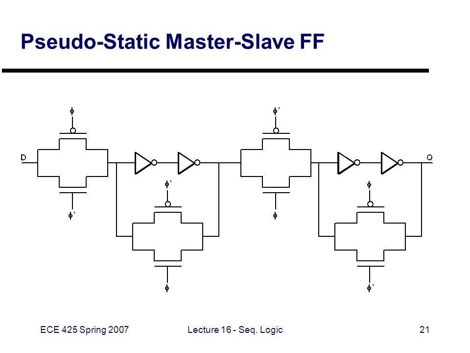 ECE 425 Spring 2007Lecture 16 - Seq. Logic21 Pseudo-Static Master-Slave FF
