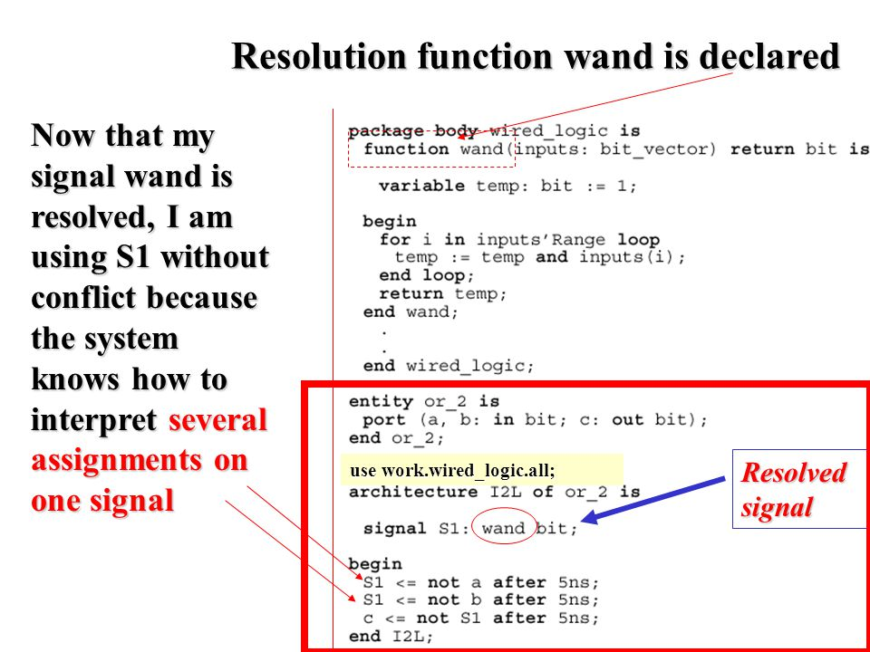Resolved signal Now that my signal wand is resolved, I am using S1 without conflict because the system knows how to interpret several assignments on one signal use work.wired_logic.all; Resolution function wand is declared