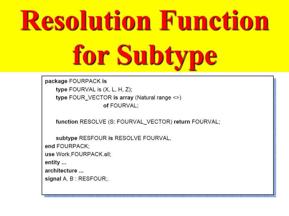 Resolution Function for Subtype