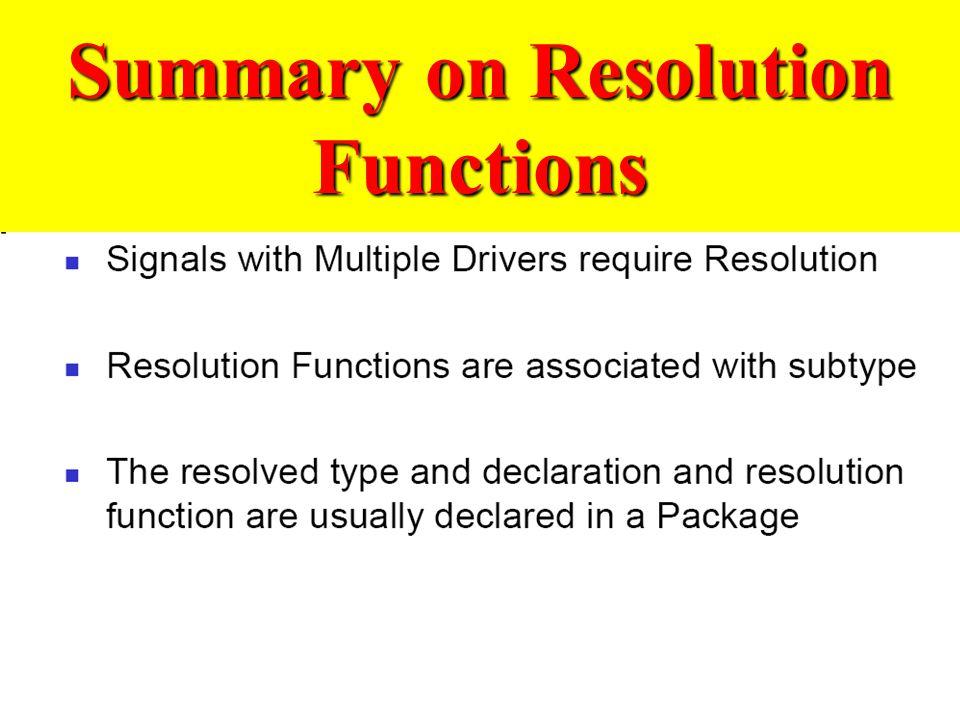 Summary on Resolution Functions