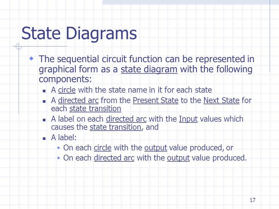 17 State Diagrams  The sequential circuit function can be represented in graphical form as a state diagram with the following components: A circle wi