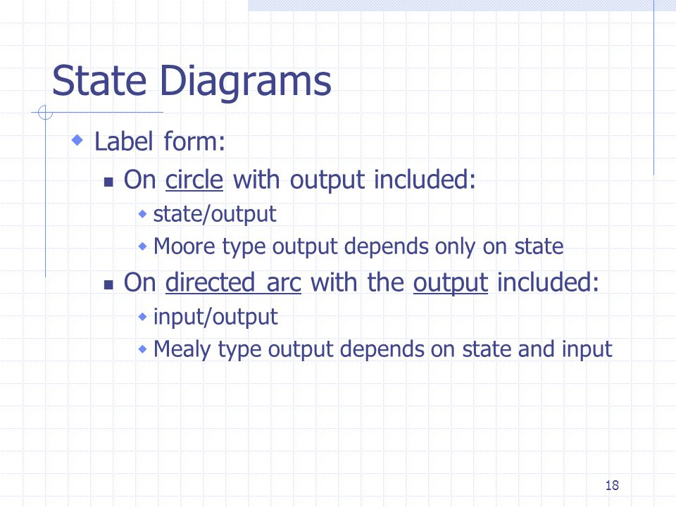 18 State Diagrams  Label form: On circle with output included:  state/output  Moore type output depends only on state On directed arc with the outp