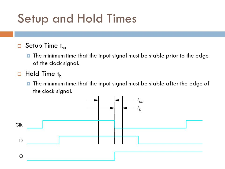 t su t h Clk D Q Setup and Hold Times  Setup Time t su  The minimum time that the input signal must be stable prior to the edge of the clock signal.