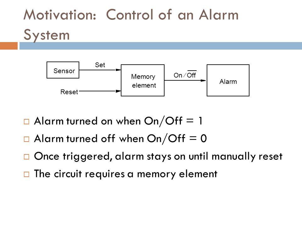 Memory element Alarm Sensor Reset Set OnOff  Motivation: Control of an Alarm System  Alarm turned on when On/Off = 1  Alarm turned off when On/Off