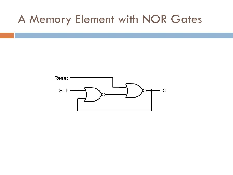 Reset SetQ A Memory Element with NOR Gates