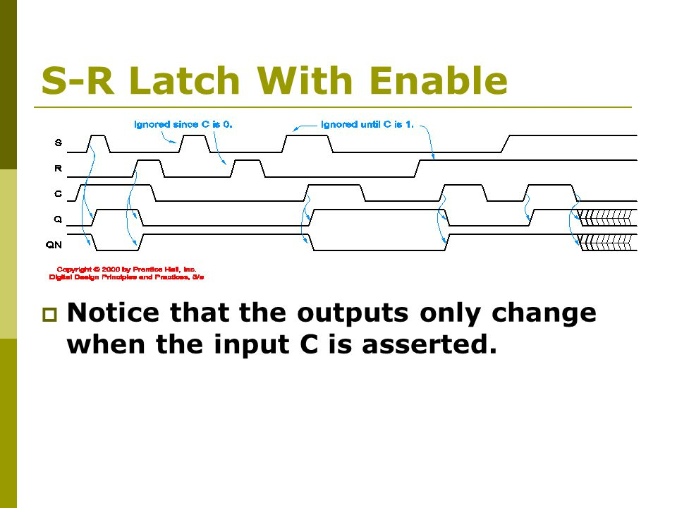 S-R Latch With Enable  Notice that the outputs only change when the input C is asserted.