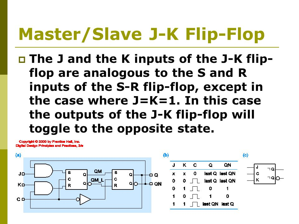 Master/Slave J-K Flip-Flop  The J and the K inputs of the J-K flip- flop are analogous to the S and R inputs of the S-R flip-flop, except in the case where J=K=1.