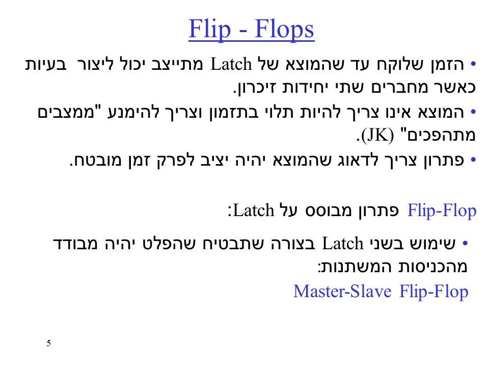 5 Flip - Flops הזמן שלוקח עד שהמוצא של Latch מתייצב יכול ליצור בעיות כאשר מחברים שתי יחידות זיכרון.
