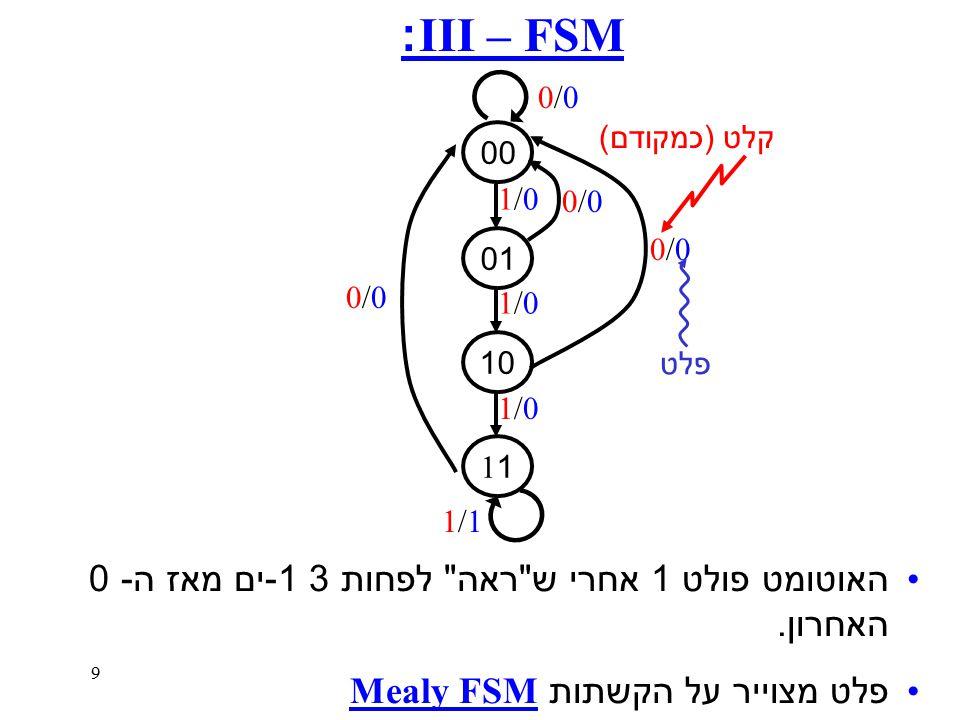 9 FSM – III: 00 01 10 1 האוטומט פולט 1 אחרי ש ראה לפחות 3 1 - ים מאז ה - 0 האחרון.