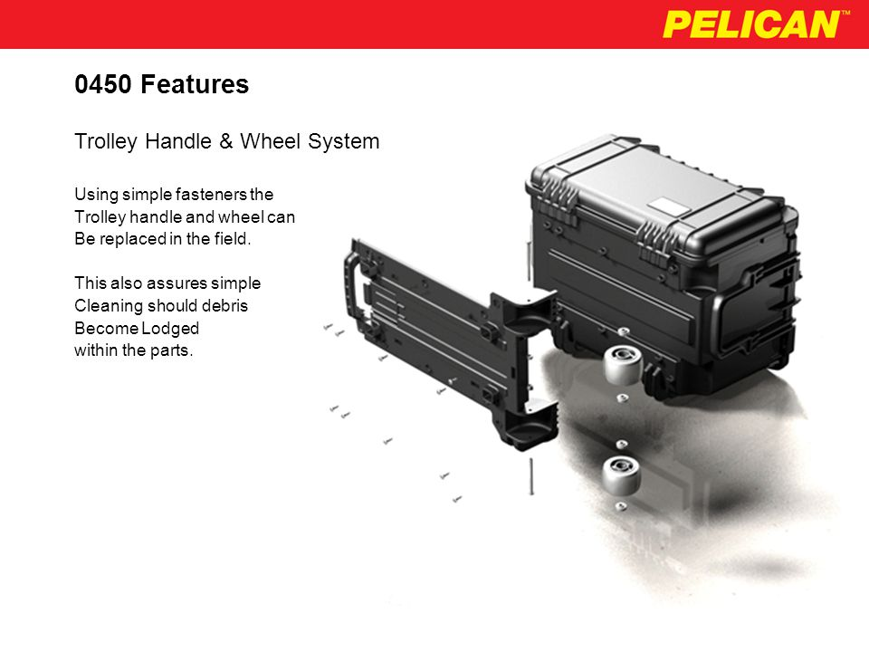 0450 Features The Pelican tool Case uses Heavy duty ribs to protect Hinges and latches from Shipping damage.