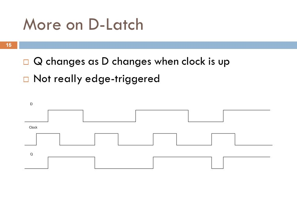 More on D-Latch  Q changes as D changes when clock is up  Not really edge-triggered 15