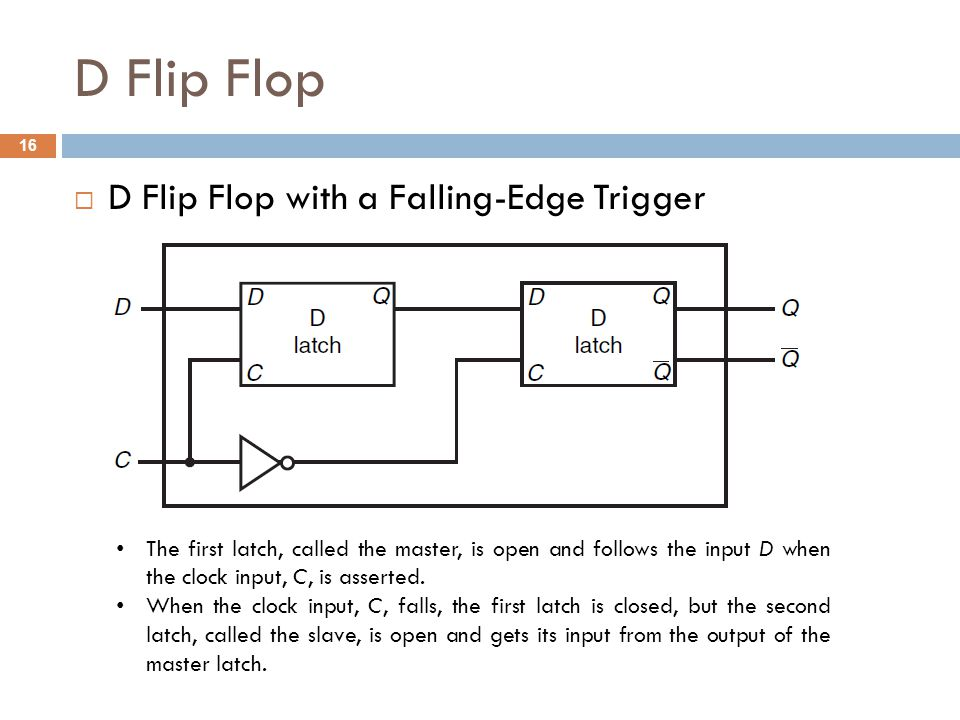 D Flip Flop  D Flip Flop with a Falling-Edge Trigger The first latch, called the master, is open and follows the input D when the clock input, C, is asserted.
