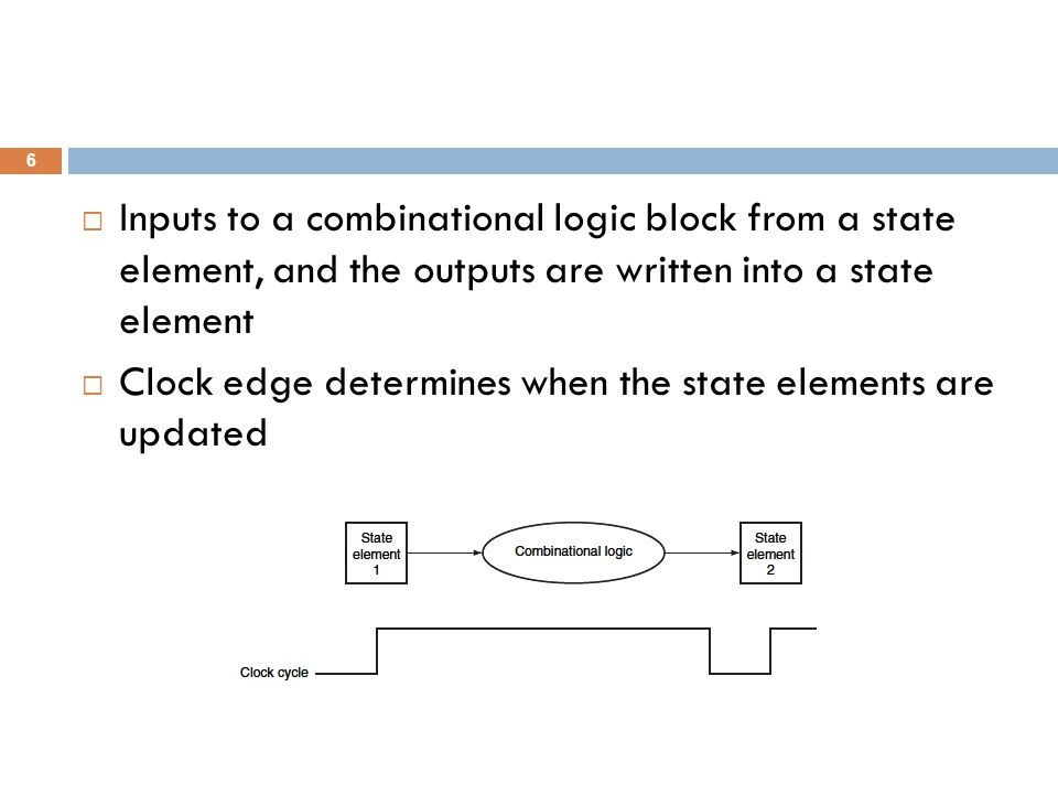  Inputs to a combinational logic block from a state element, and the outputs are written into a state element  Clock edge determines when the state elements are updated 6