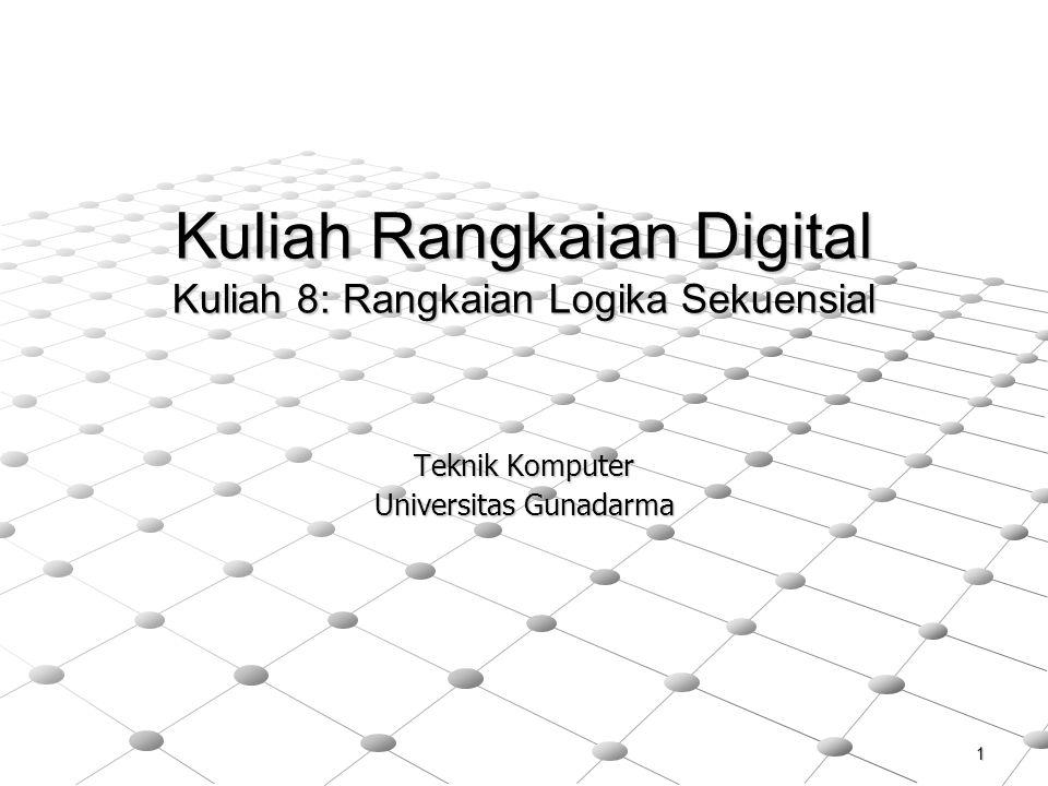 1 Kuliah Rangkaian Digital Kuliah 8: Rangkaian Logika Sekuensial Teknik Komputer Universitas Gunadarma