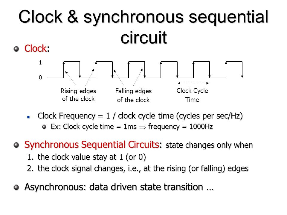 Clock: Clock Frequency = 1 / clock cycle time (cycles per sec/Hz) Clock Frequency = 1 / clock cycle time (cycles per sec/Hz) Ex: Clock cycle time = 1m