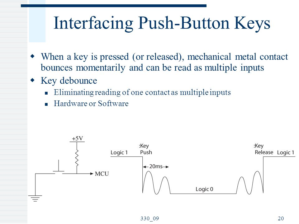 Interfacing Push-Button Keys  When a key is pressed (or released), mechanical metal contact bounces momentarily and can be read as multiple inputs  Key debounce Eliminating reading of one contact as multiple inputs Hardware or Software 20330_09