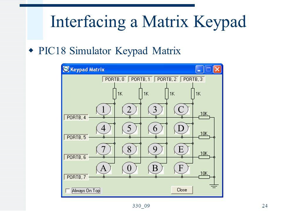 Interfacing a Matrix Keypad  PIC18 Simulator Keypad Matrix 24330_09 1 4 7 A 2 5 8 0 3 6 9 B C D E F