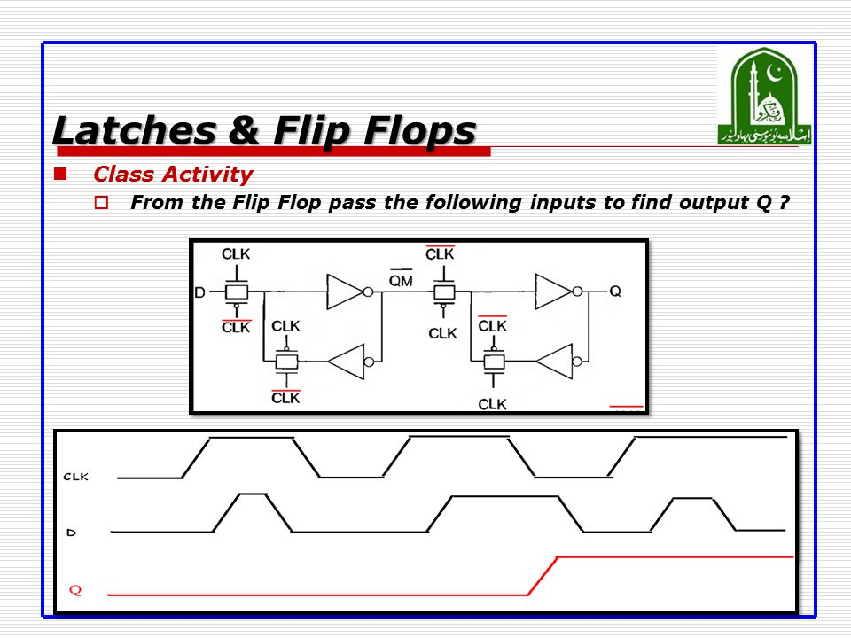 Latches & Flip Flops Class Activity  From the Flip Flop pass the following inputs to find output Q ?