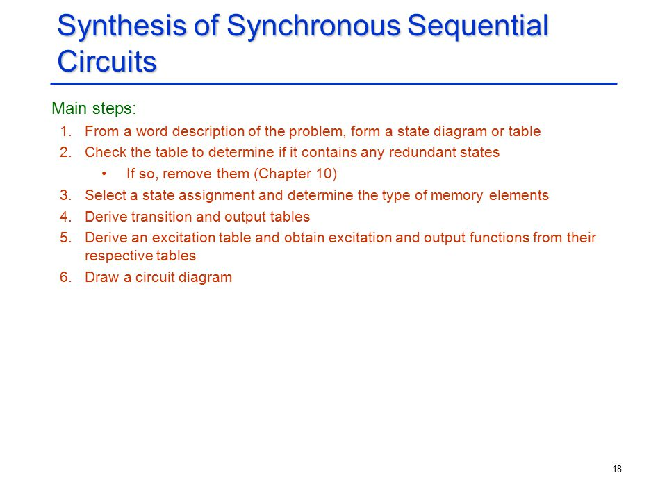 18 Synthesis of Synchronous Sequential Circuits Main steps: 1.From a word description of the problem, form a state diagram or table 2.Check the table