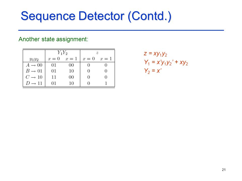 21 Sequence Detector (Contd.) Another state assignment: z = xy 1 y 2 Y 1 = x'y 1 y 2 ' + xy 2 Y 2 = x'