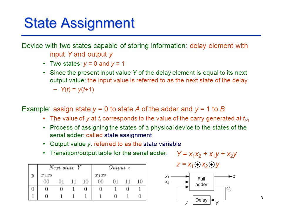 3 State Assignment Device with two states capable of storing information: delay element with input Y and output y Two states: y = 0 and y = 1 Since th