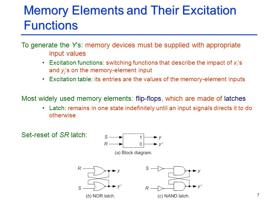 7 Memory Elements and Their Excitation Functions To generate the Y's: memory devices must be supplied with appropriate input values Excitation functio