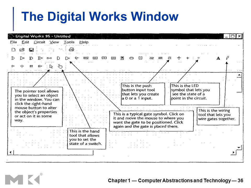 Chapter 1 — Computer Abstractions and Technology — 36 The Digital Works Window