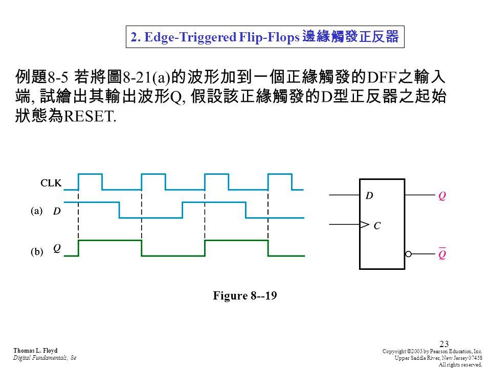23 例題 8-5 若將圖 8-21(a) 的波形加到一個正緣觸發的 DFF 之輸入 端, 試繪出其輸出波形 Q, 假設該正緣觸發的 D 型正反器之起始 狀態為 RESET.