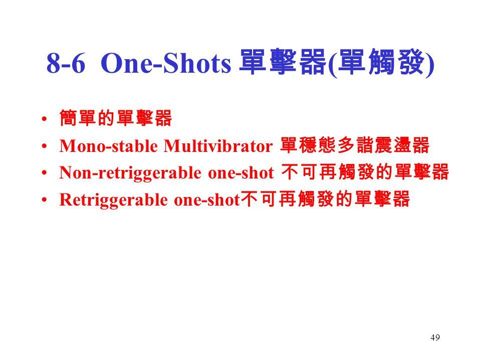 49 8-6 One-Shots 單擊器 ( 單觸發 ) 簡單的單擊器 Mono-stable Multivibrator 單穩態多諧震盪器 Non-retriggerable one-shot 不可再觸發的單擊器 Retriggerable one-shot 不可再觸發的單擊器