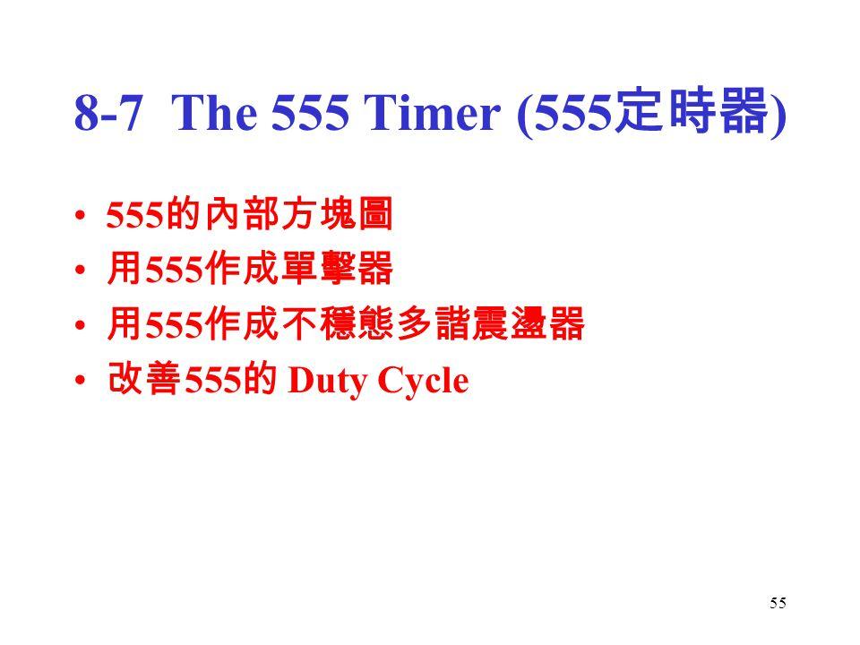 55 8-7 The 555 Timer (555 定時器 ) 555 的內部方塊圖 用 555 作成單擊器 用 555 作成不穩態多諧震盪器 改善 555 的 Duty Cycle