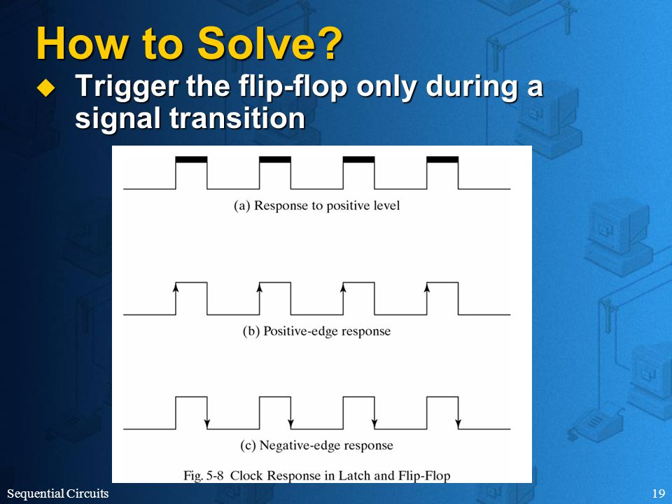 Sequential Circuits19 How to Solve  Trigger the flip-flop only during a signal transition