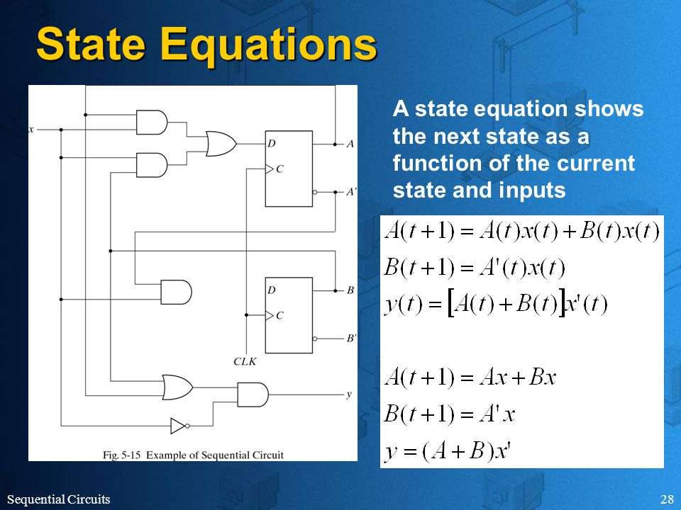 Sequential Circuits28 State Equations A state equation shows the next state as a function of the current state and inputs