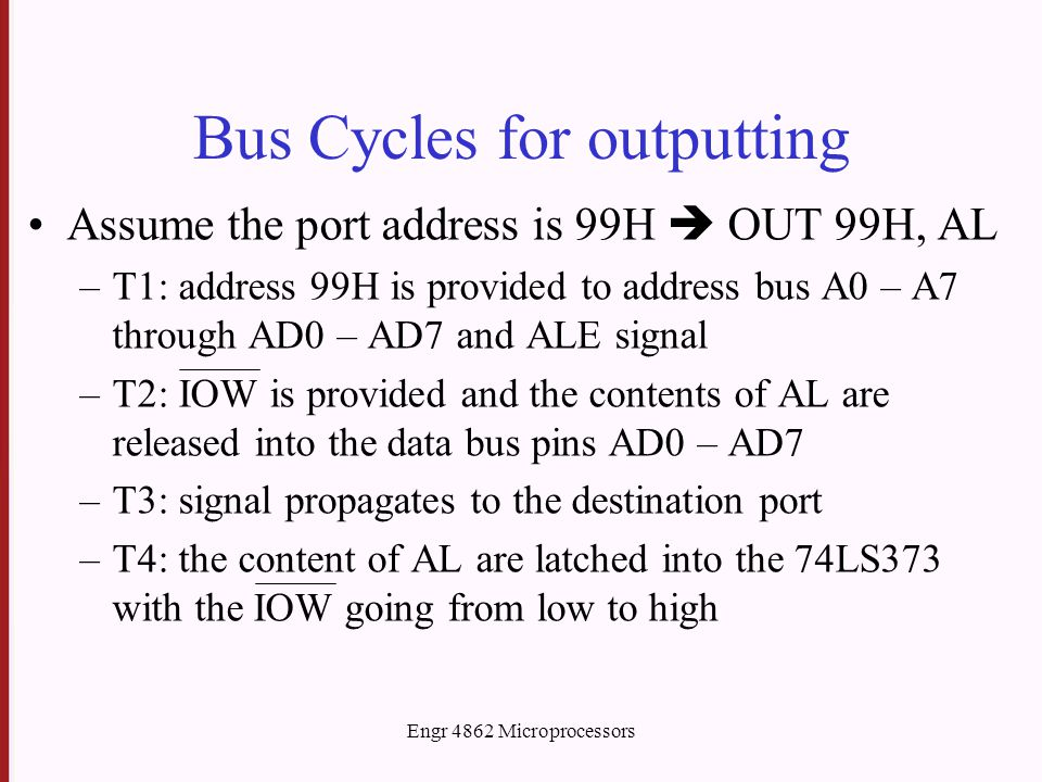 Engr 4862 Microprocessors Bus Cycles for outputting Assume the port address is 99H  OUT 99H, AL –T1: address 99H is provided to address bus A0 – A7 t
