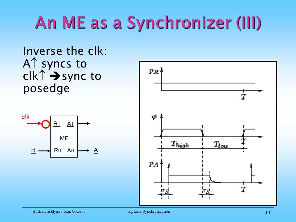 Avshalom Elyada, Ran GinosarPipeline Synchronization 11 An ME as a Synchronizer (III) Inverse the clk: A  syncs to clk   sync to posedge R1R1 R0R0 A1A1 A0A0 ME RA clk