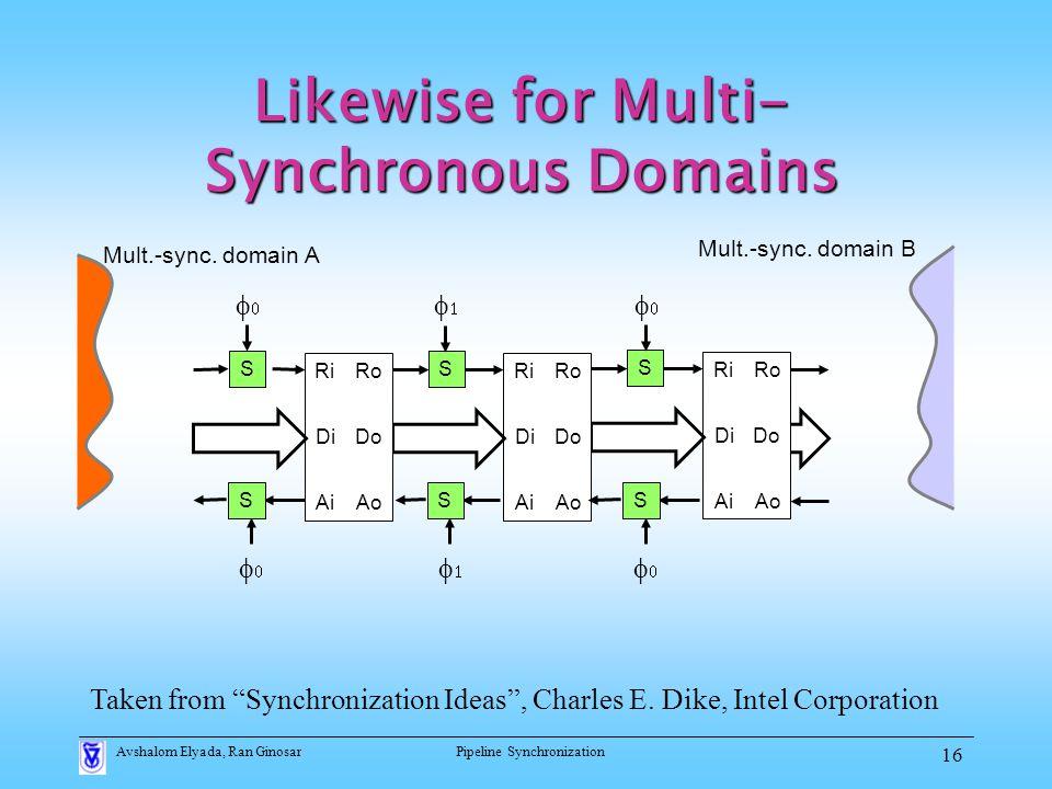 Avshalom Elyada, Ran GinosarPipeline Synchronization 16 Likewise for Multi- Synchronous Domains S Ri Ai Di Ro Ao Do S Ri Ai Di Ro Ao Do Ri Ai Di Ro Ao Do S    Mult.-sync.