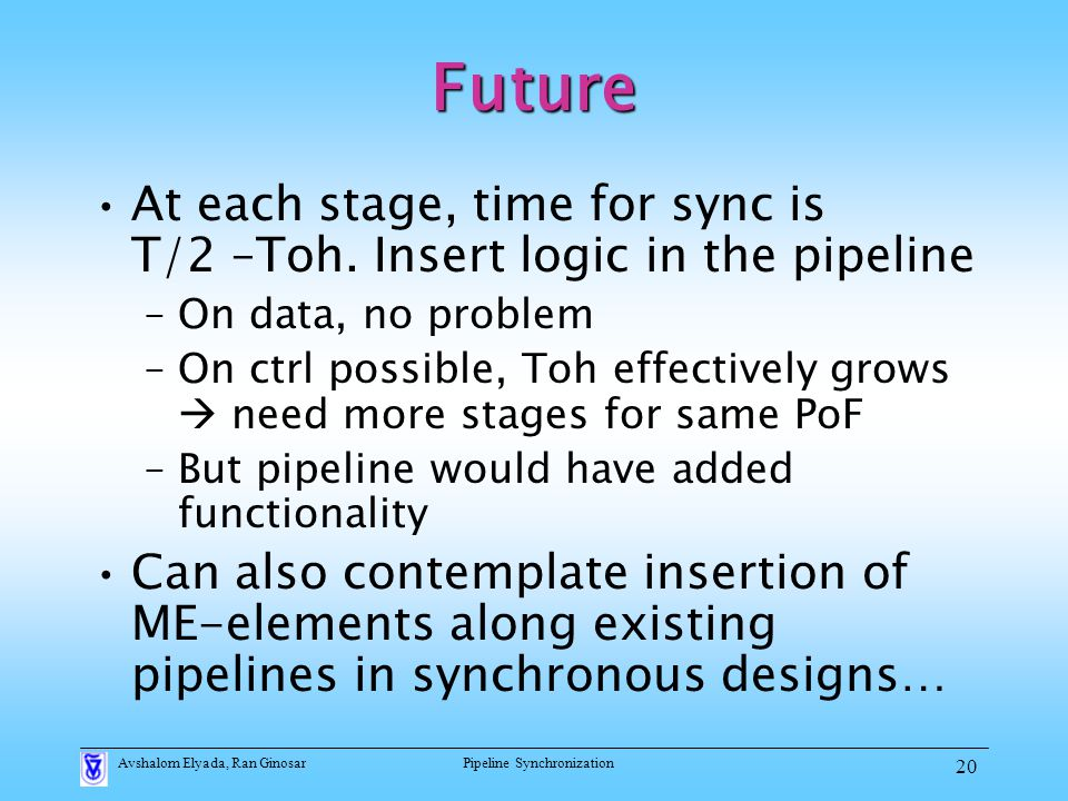 Avshalom Elyada, Ran GinosarPipeline Synchronization 20 Future At each stage, time for sync is T/2 –Toh.