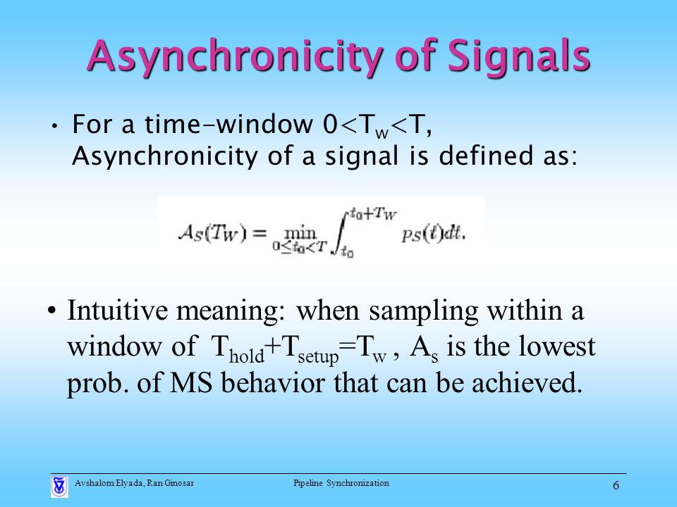 Avshalom Elyada, Ran GinosarPipeline Synchronization 6 For a time-window 0<T w <T, Asynchronicity of a signal is defined as: Intuitive meaning: when sampling within a window of T hold +T setup =T w, A s is the lowest prob.