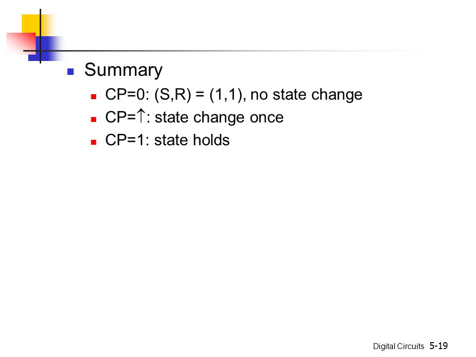 Digital Circuits 5-19 Summary CP=0: (S,R) = (1,1), no state change CP=  : state change once CP=1: state holds