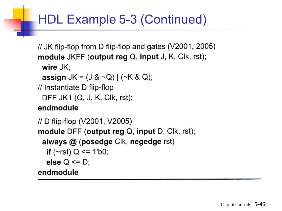 Digital Circuits 5-46 HDL Example 5-3 (Continued)