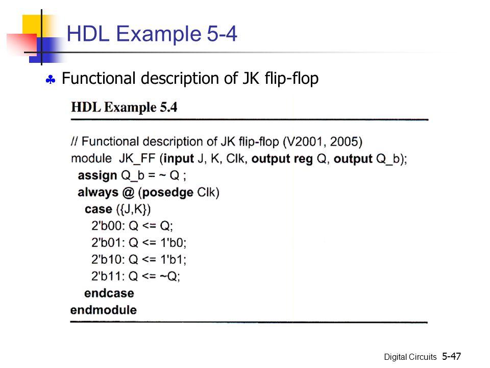 Digital Circuits 5-47 HDL Example 5-4  Functional description of JK flip-flop